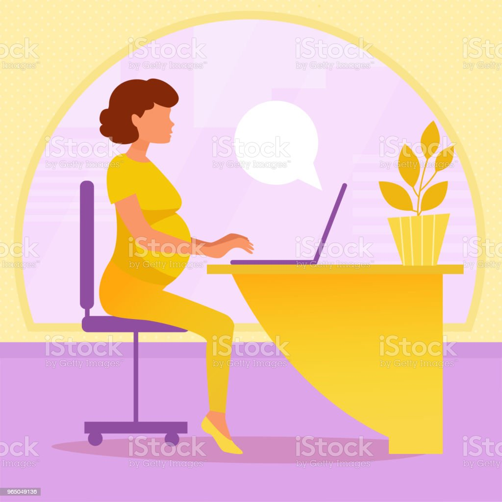 Pregnant woman working in office royalty-free pregnant woman working in office stock vector art & more images of adult