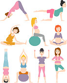 Pregnancy sport fitness people and healthy lifestyle concept. Group of happy pregnant women sitting on mats meditation and talking in gym. Relax person well being.