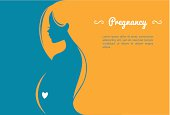 Vector illustration of Pregnant woman's silhouette