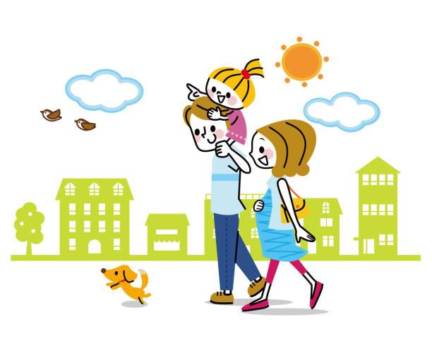 妊娠中の女性とその家族を散歩します。 - 家族 日本人点のイラスト素材/クリップアート素材/マンガ素材/アイコン素材