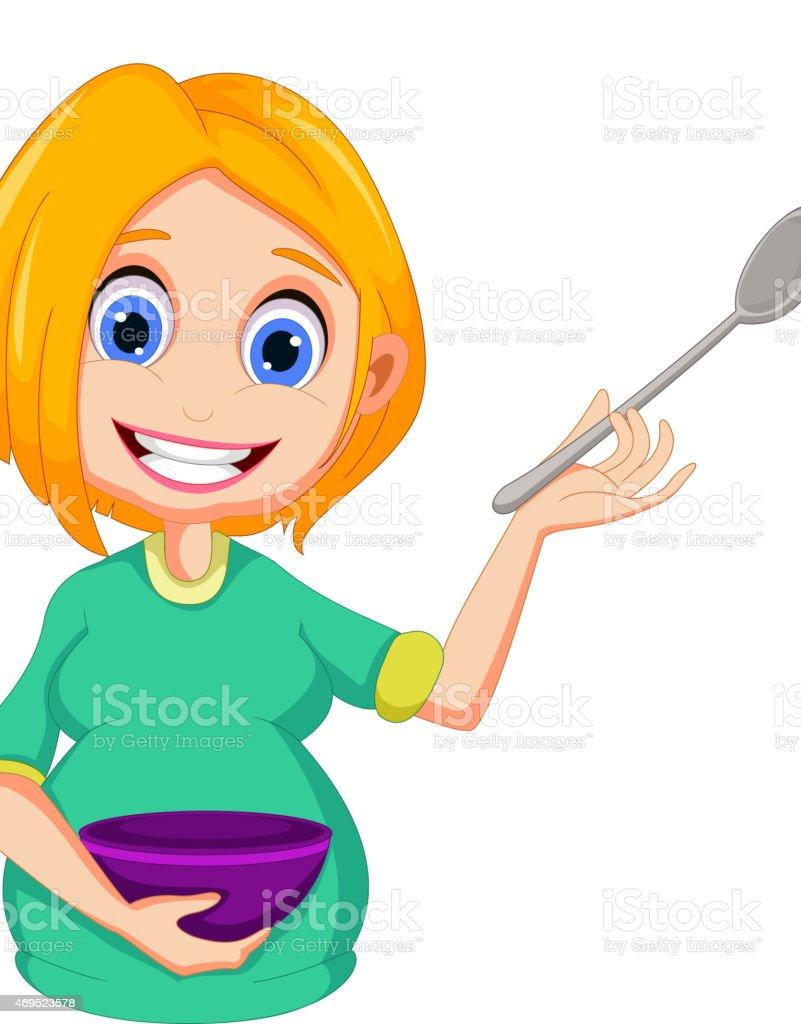 Schwangere Frauen Comic Prasentieren Wie Kochen Stock Vektor Art