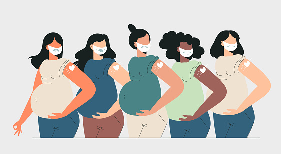 Pregnant women vaccination Health care concept. Diverse mothers after vaccine injection in shoulder. Pregnant getting vaccine shot. Women in face mask showing heart bandage. Flat vector illustration
