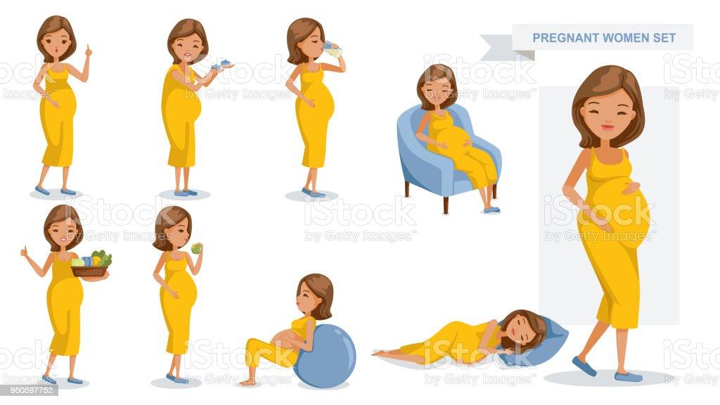 Pregnant women vector art illustration