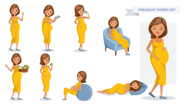 Pregnant women Pregnant women set. many views of pregnant. smile happy, hold baby shoes, drink milk from a glass, sit on a sofa, Holds vegetable tray, eating, exercise and sleeping, Vector illustrations isolated. pregnancy stock illustrations