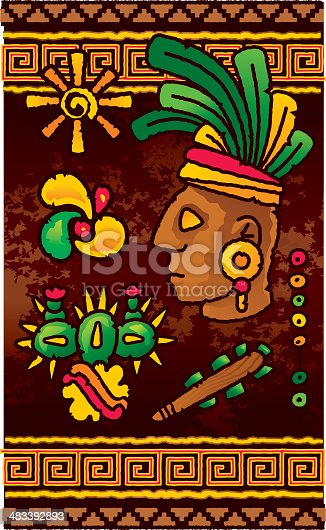 Vector iconic elements and motifs related to prehispanic indian cultures on a parchment background