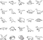 Prehistoric Animals Outlines vector icons