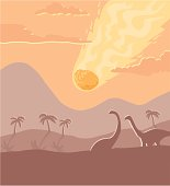 A vast asteroid hurtles towards the earth as two dinosaurs look on.