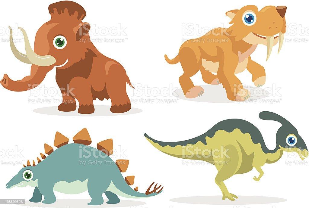 Prehistoric Cartoon Animals royalty-free stock vector art