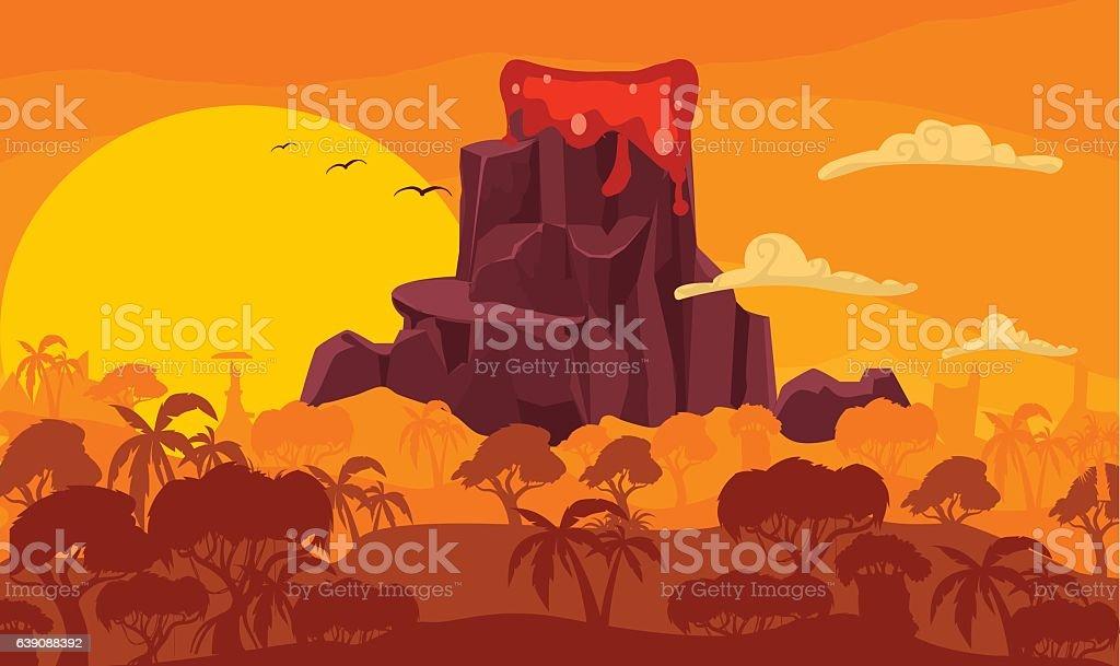 Prehistoric cartoonillustration with volcano eruption vector art illustration