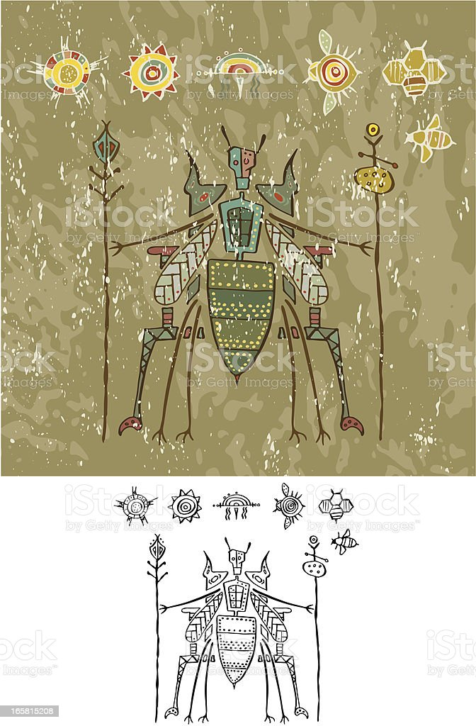 Prehistoric Cave Painting Bee God on Throne vector art illustration