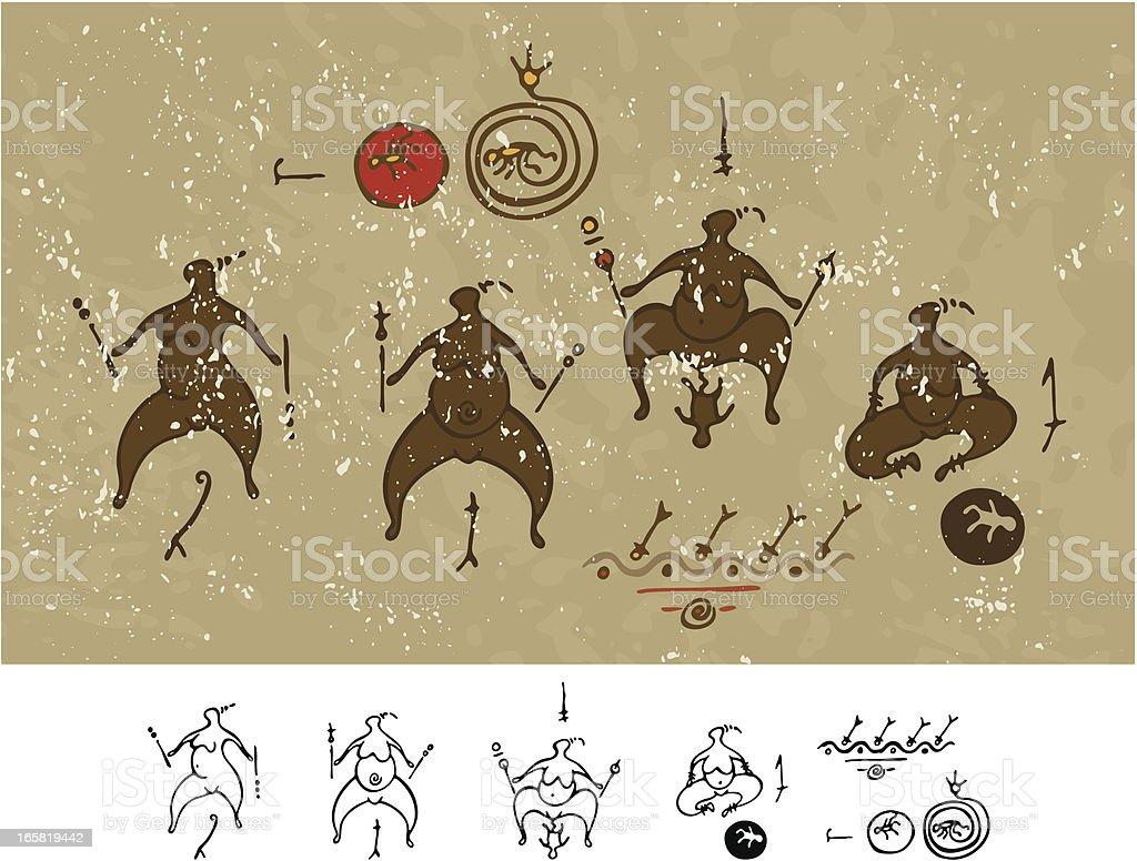 Prehistoric Cave Painting Birth Rites royalty-free stock vector art