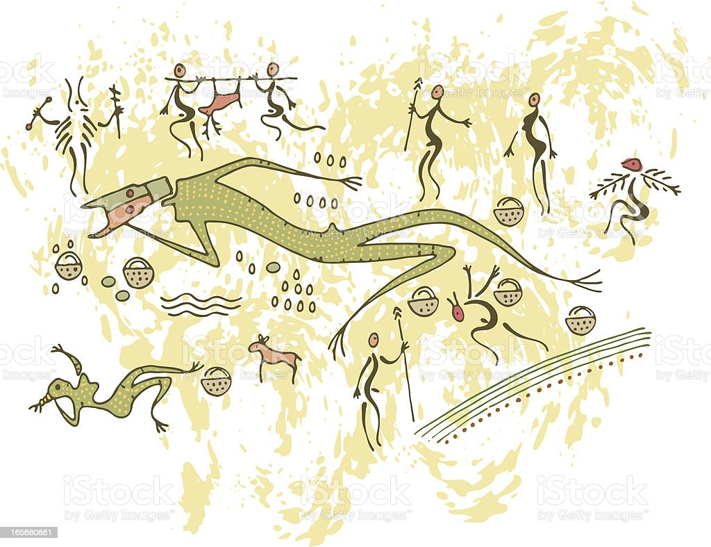Prehistoric Cave Painting Death of the King royalty-free stock vector art