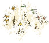 Prehistoric Cave Painting Family Around Fire
