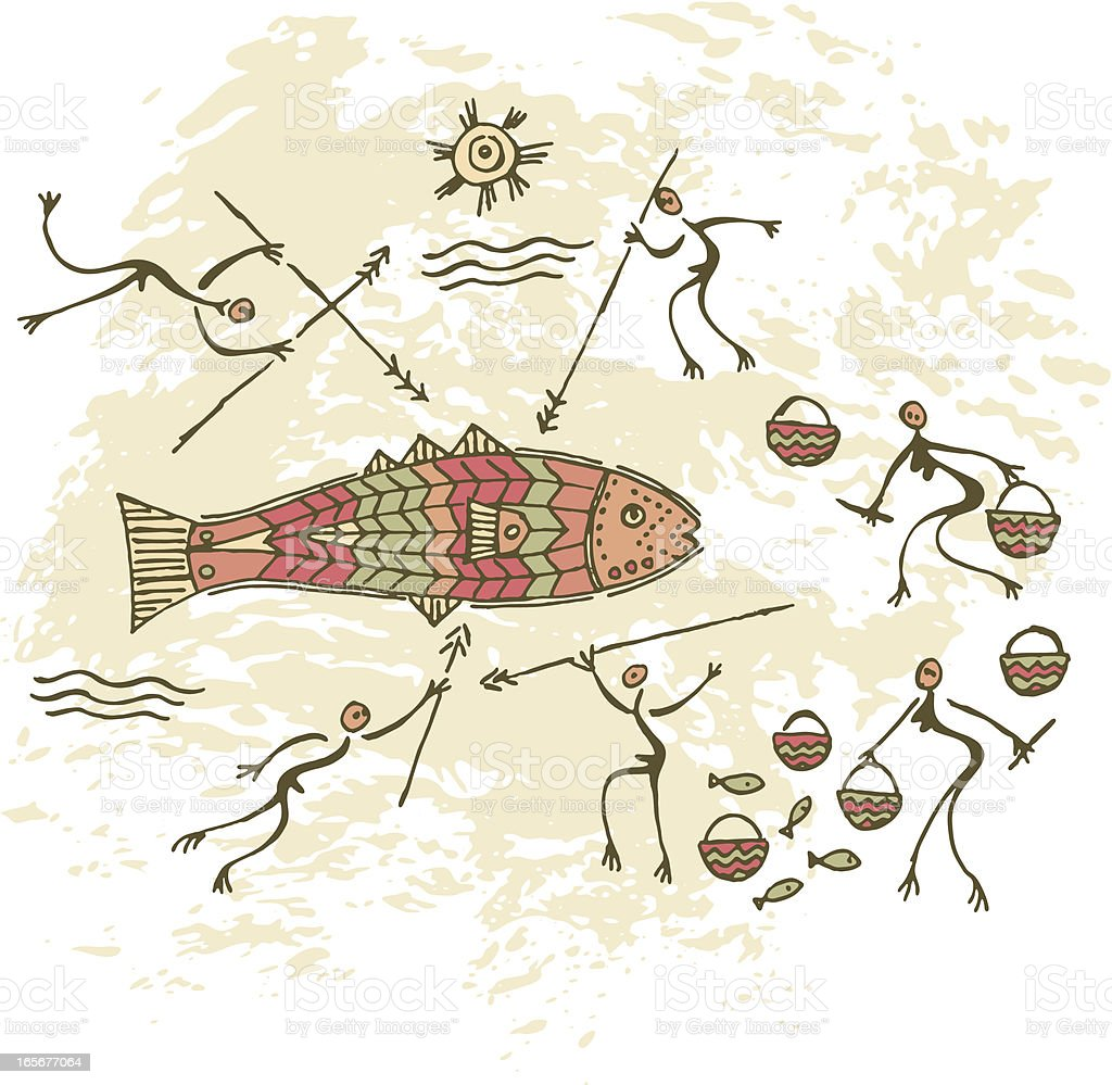 Prehistoric Cave Painting Fishing vector art illustration