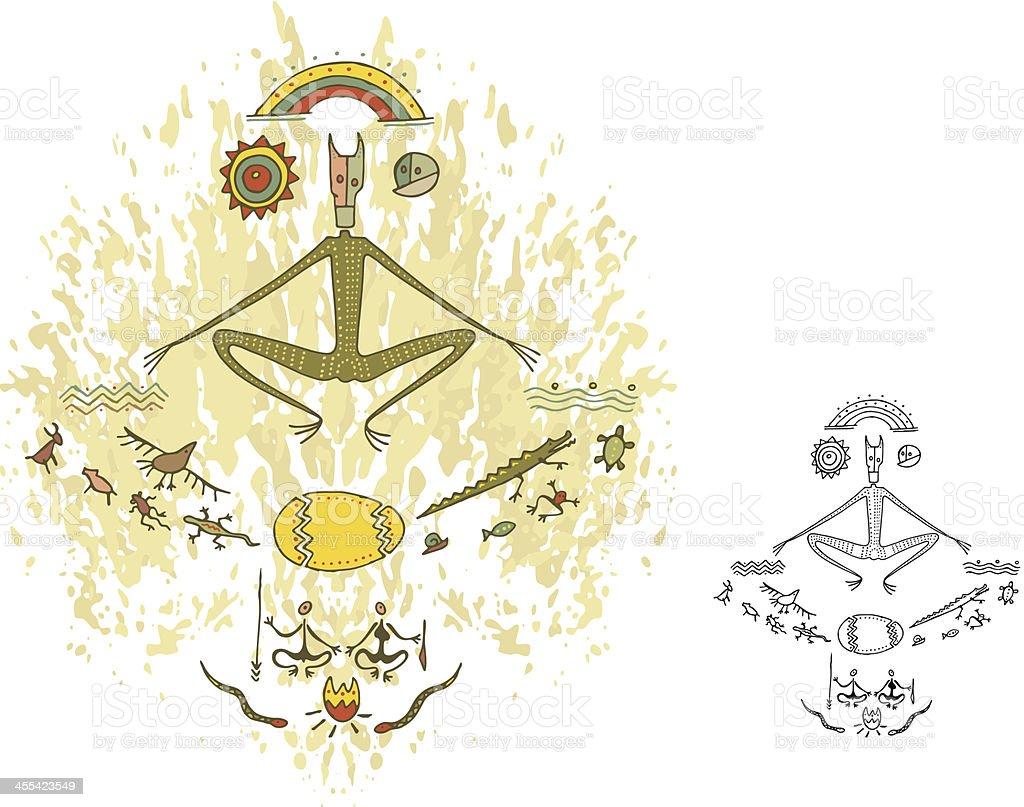 Prehistoric Cave Painting God Creation vector art illustration