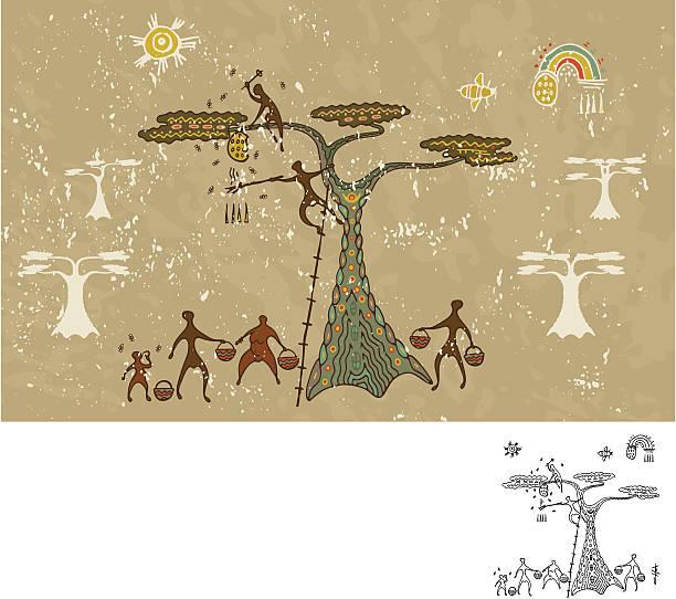 Prehistóricas Pintura rupestre miel recogida - ilustración de arte vectorial