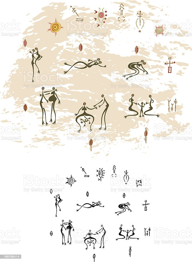 Prehistoric Cave Painting Human Relationships vector art illustration