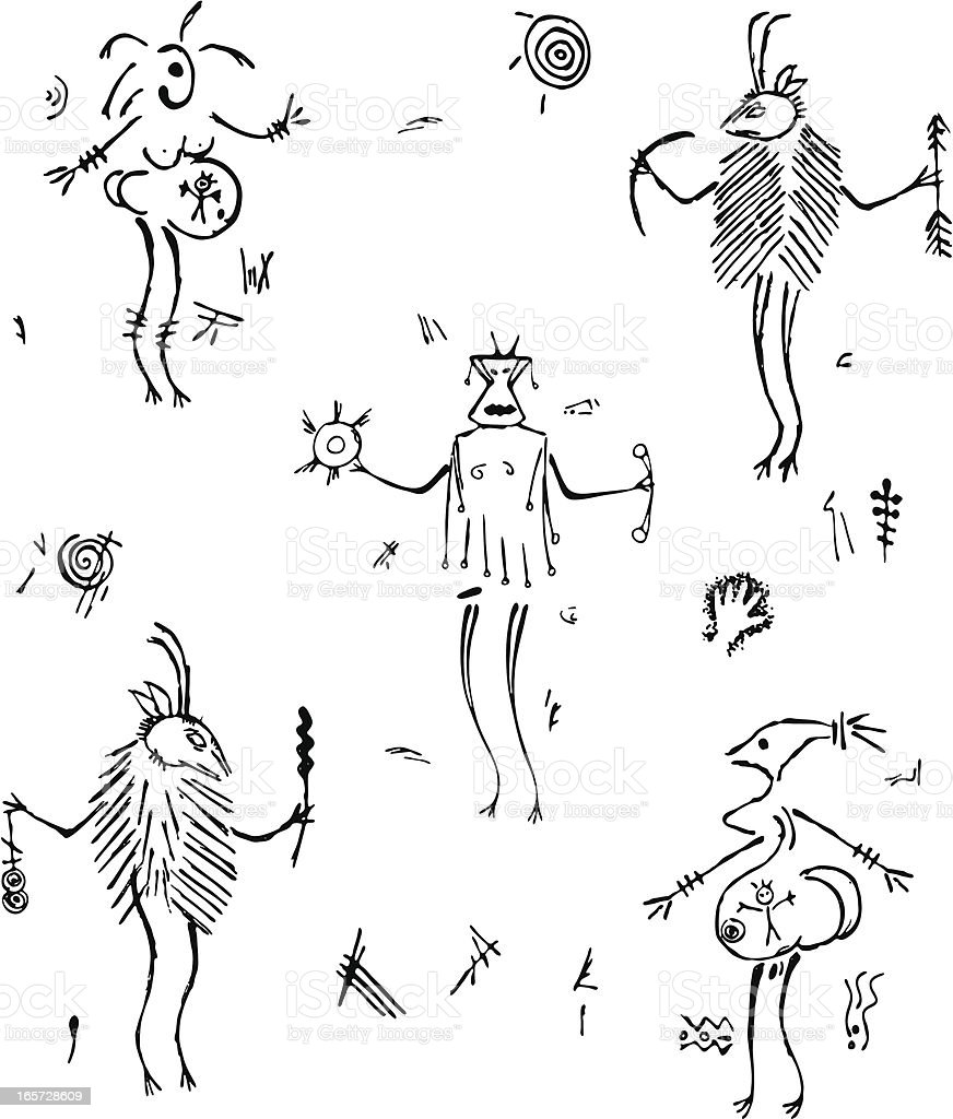 Prehistoric Cave Painting Shaman and Women royalty-free stock vector art