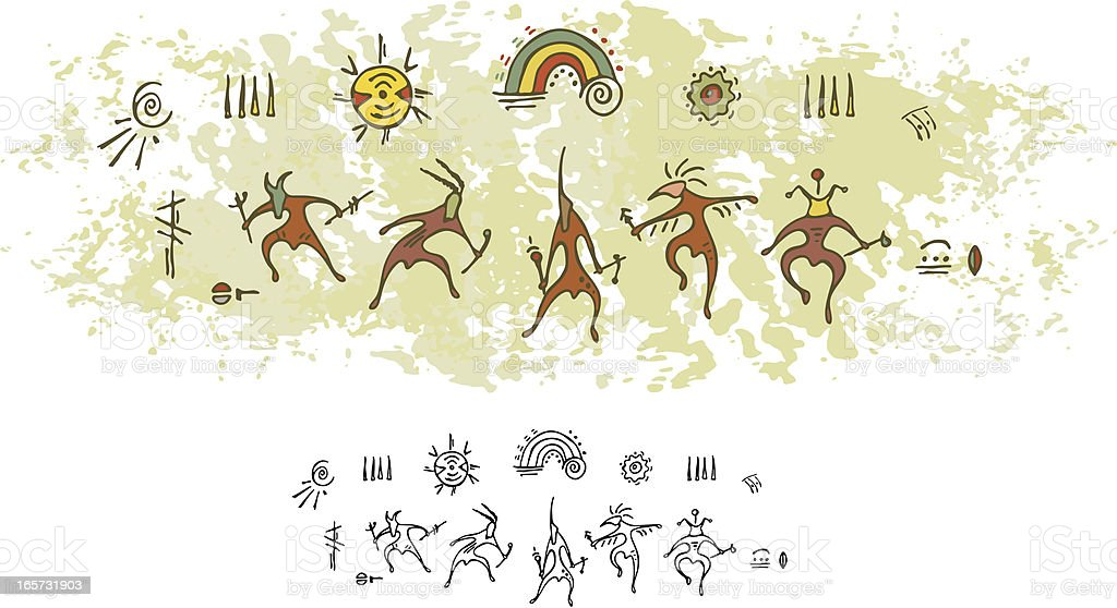 Prehistoric Cave Painting Shaman Rain Dance vector art illustration