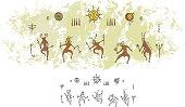 Prehistoric Cave Painting Shaman Sun Dance