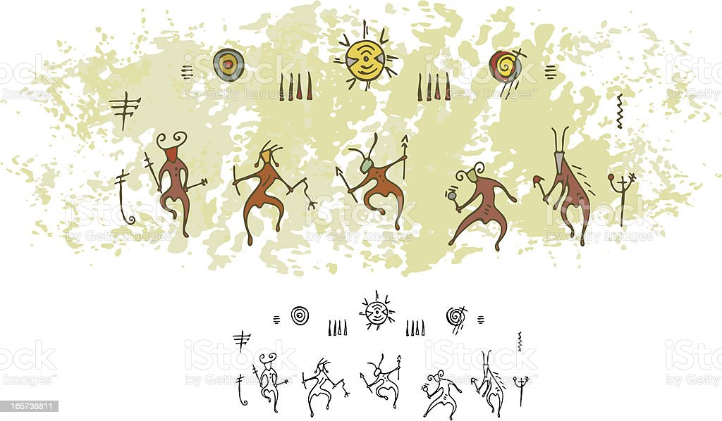 Prehistoric Cave Painting Shaman Sun Dance vector art illustration