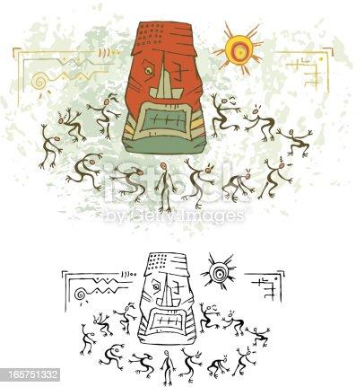 istock Prehistoric Cave Painting Totem Ritual Dance 165751332