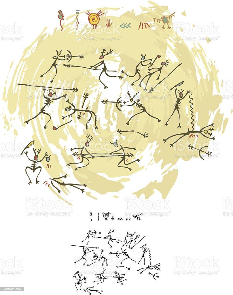 Prehistoric Cave Painting Tribal War vector art illustration