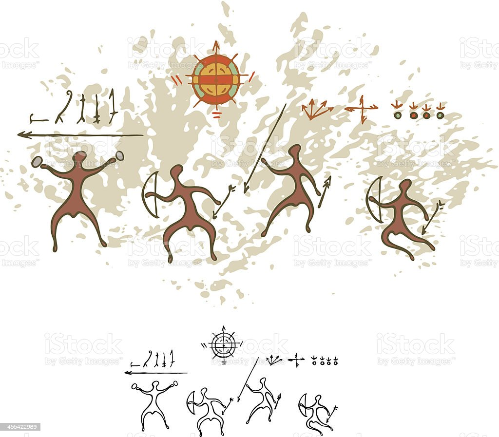 Prehistoric Cave Painting Warriors vector art illustration