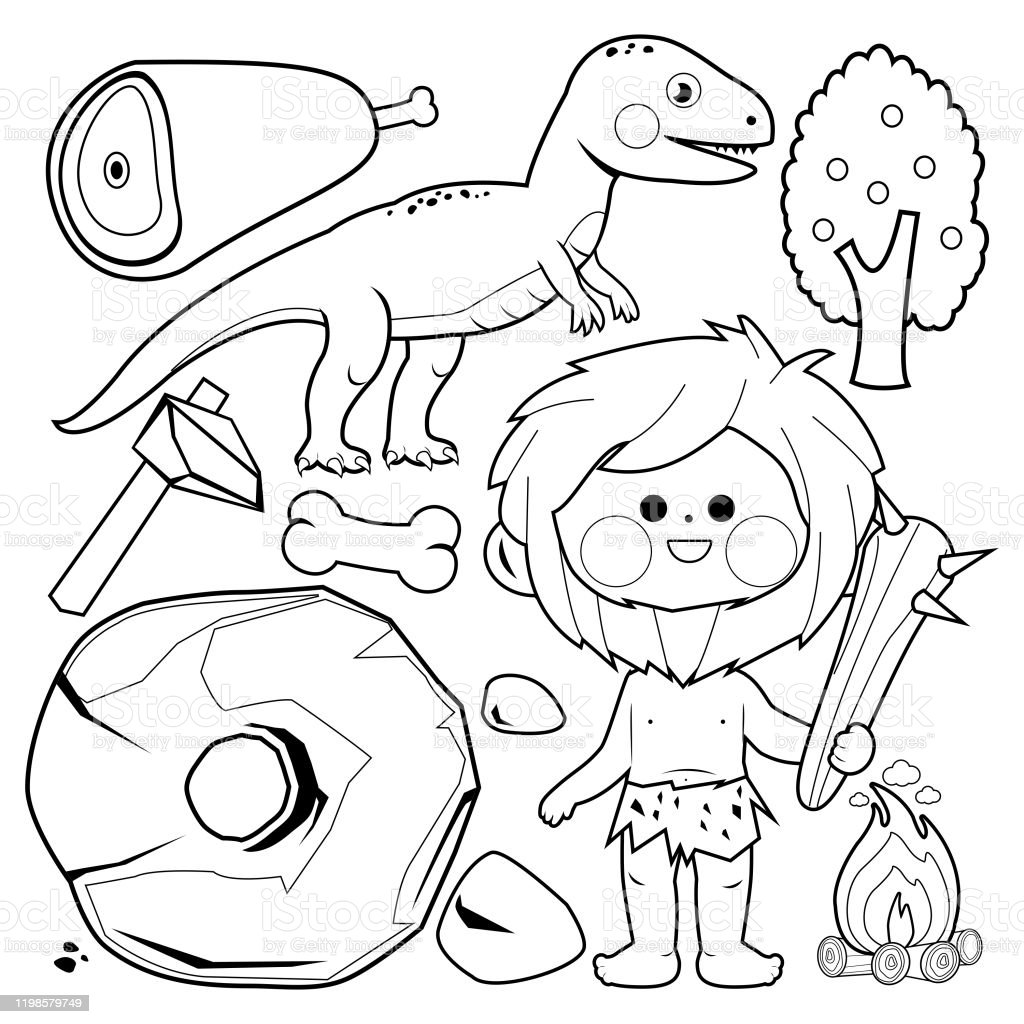 Prehistoric Caveman And Dinosaur Set Vector Black And White Coloring Page Stock Illustration Download Image Now Istock