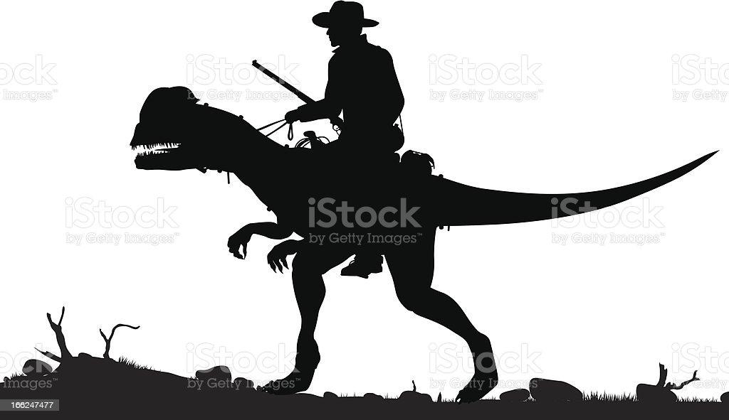Prehistoric cowboy royalty-free stock vector art