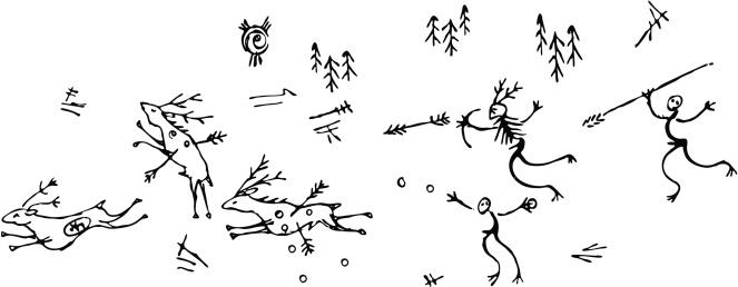 Prehistoric Hunting Scene Deer