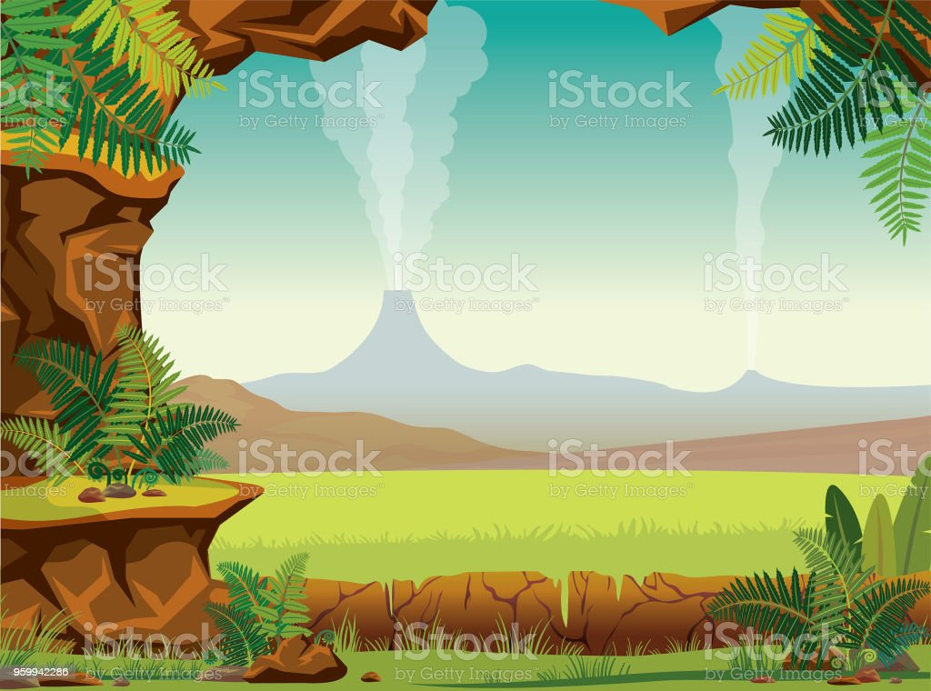 Prehistoric landscape - cave, fern, volcano vector art illustration