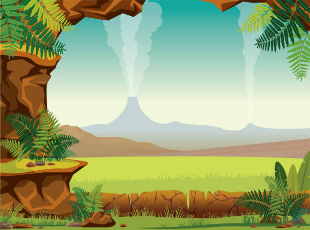 Prehistoric landscape - cave, fern, volcano Prehistoric cartoon landscape - green ferns, grass, smoking volcanoes and stone cave on a blue sky. Vector nature illustration. ancient stock illustrations