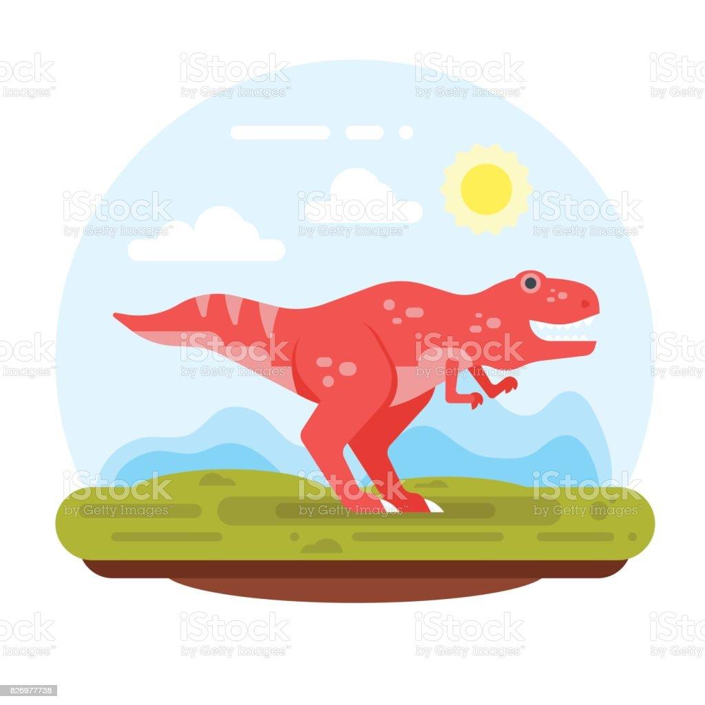 prehistoric landscape mountains and tyrannosaur. vector art illustration