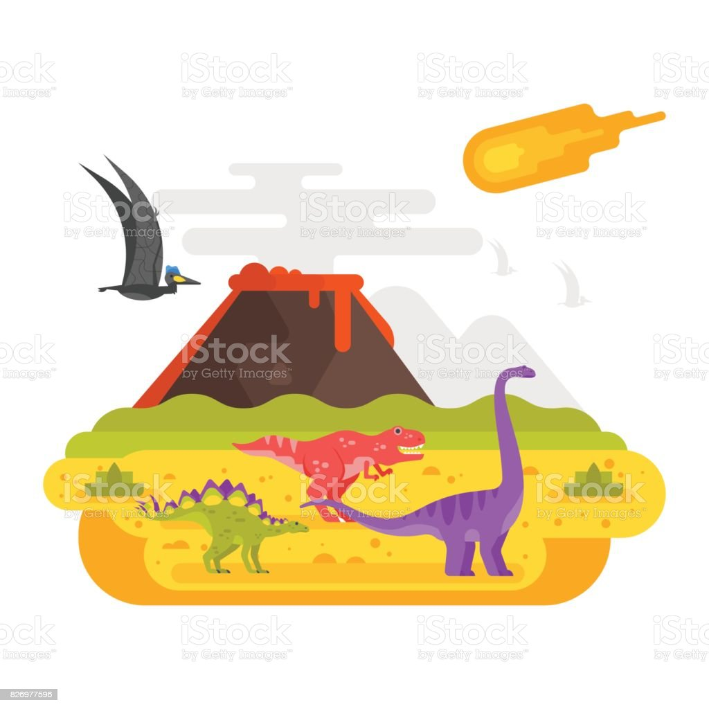 prehistoric landscape mountains and volcano with dinosaurs. vector art illustration