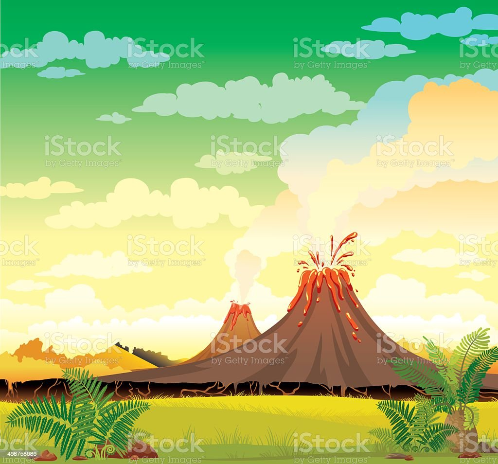 Prehistoric landscape - smoky volcanoes. vector art illustration
