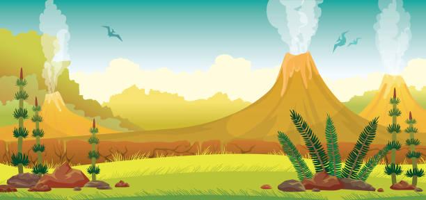 stockillustraties, clipart, cartoons en iconen met prehistorische landschap - vulkaan, pterodactyls, gras - vulkaanlandschap