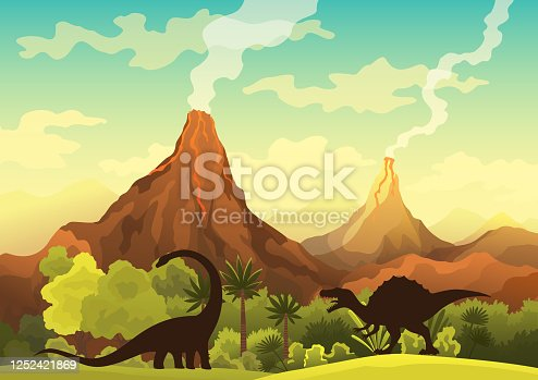 Prehistoric landscape - volcano with smoke, mountains, dinosaurs and green vegetation. Vector illustration of beautiful prehistoric landscape and dinosaurs