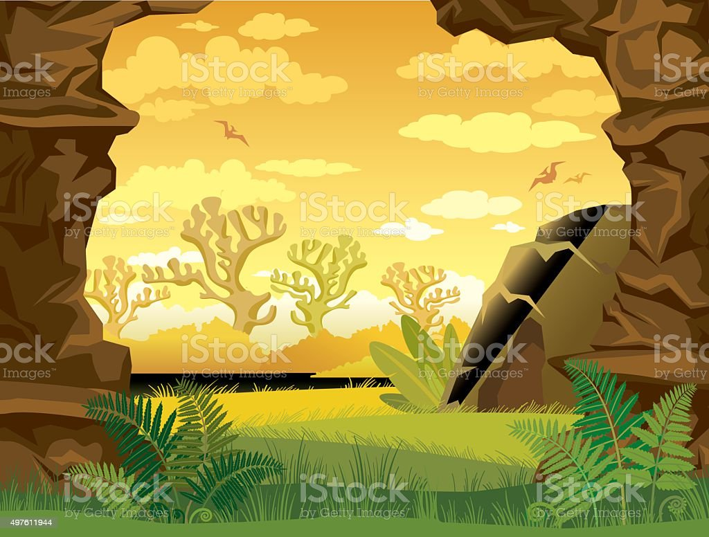 Prehistoric landscape with cave and wall of rock. vector art illustration