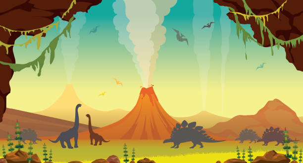 prähistorische landschaft mit höhle, dinosaurier und vulkane - vulkane stock-grafiken, -clipart, -cartoons und -symbole