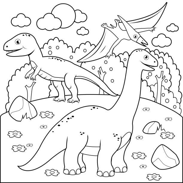 공룡과 함께 선사 시대 풍경입니다. 도 서 페이지를 색칠 하는 흑인과 백인 - 색칠하기 stock illustrations
