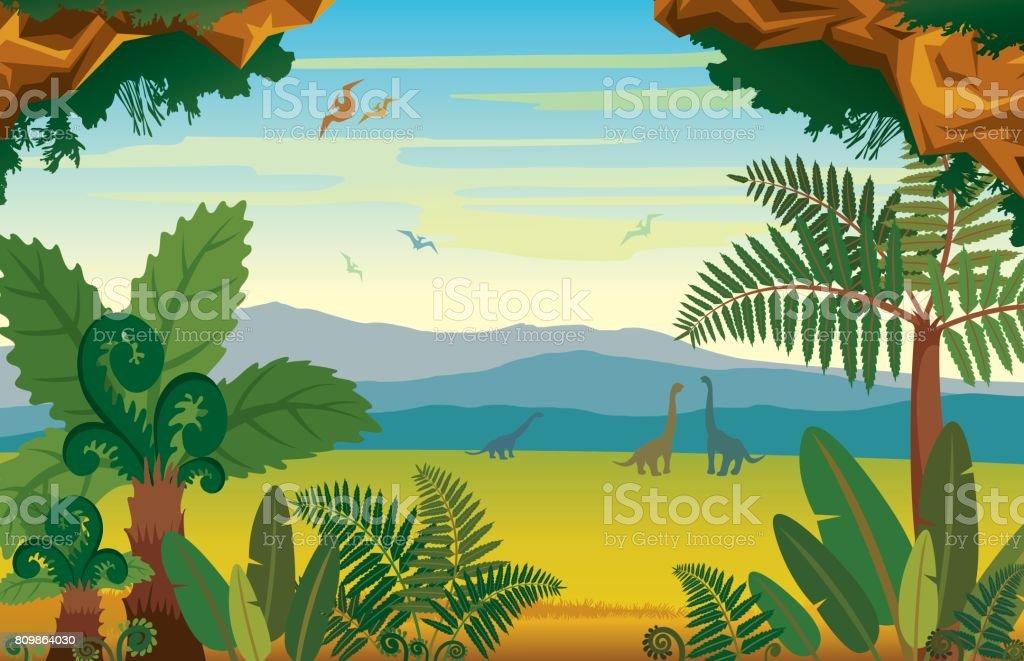 恐竜、山の植物と先史時代の風景。 ベクターアートイラスト
