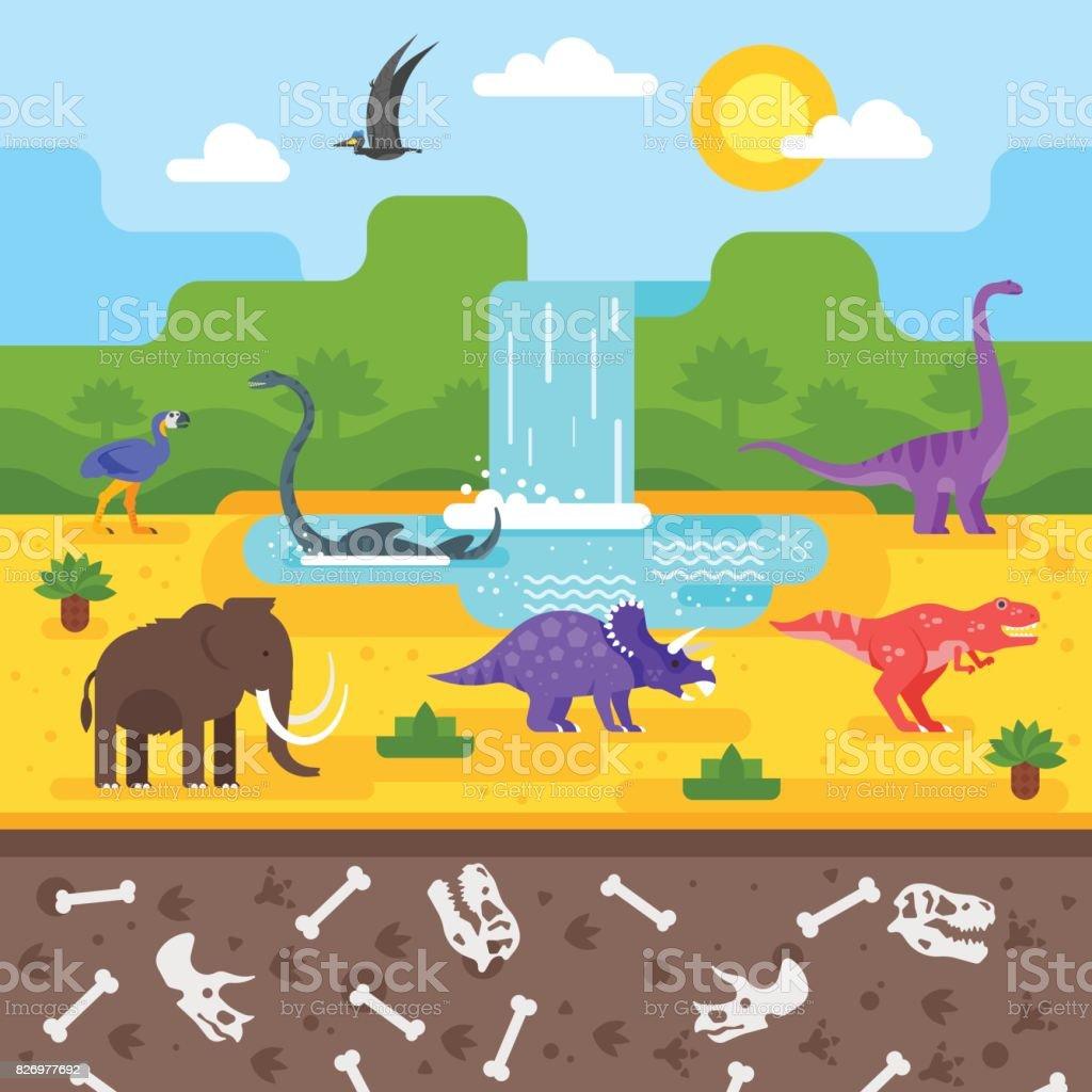 prehistoric landscape with dinosaurs. vector art illustration