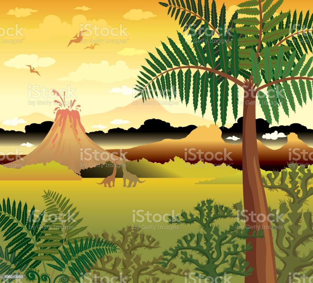 Prehistoric landscape with dinosaurs, volcano and plants. vector art illustration