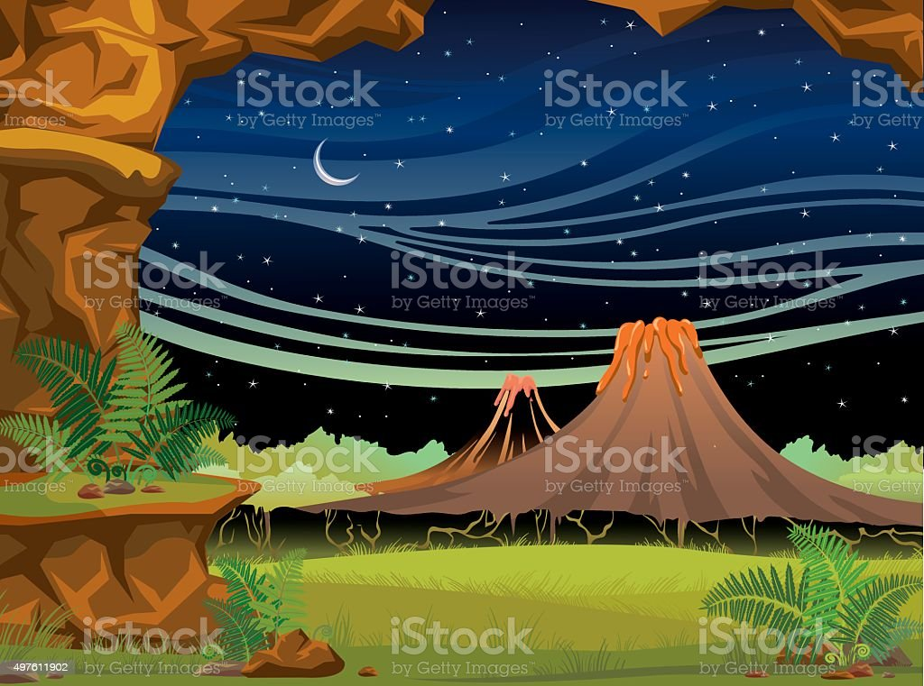 Prehistoric landscape with volcanoes at night. vector art illustration