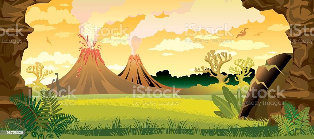 Prehistoric landscape with volcanoes. vector art illustration