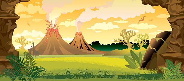 stockillustraties, clipart, cartoons en iconen met prehistoric landscape with volcanoes. - vulkaanlandschap
