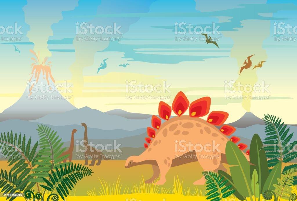 火山やディノス先史時代の風景。 ベクターアートイラスト