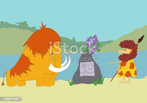 Vector image - flat cartoon style, prehistoric man and mammoth are looking on the stone with petroglyphs