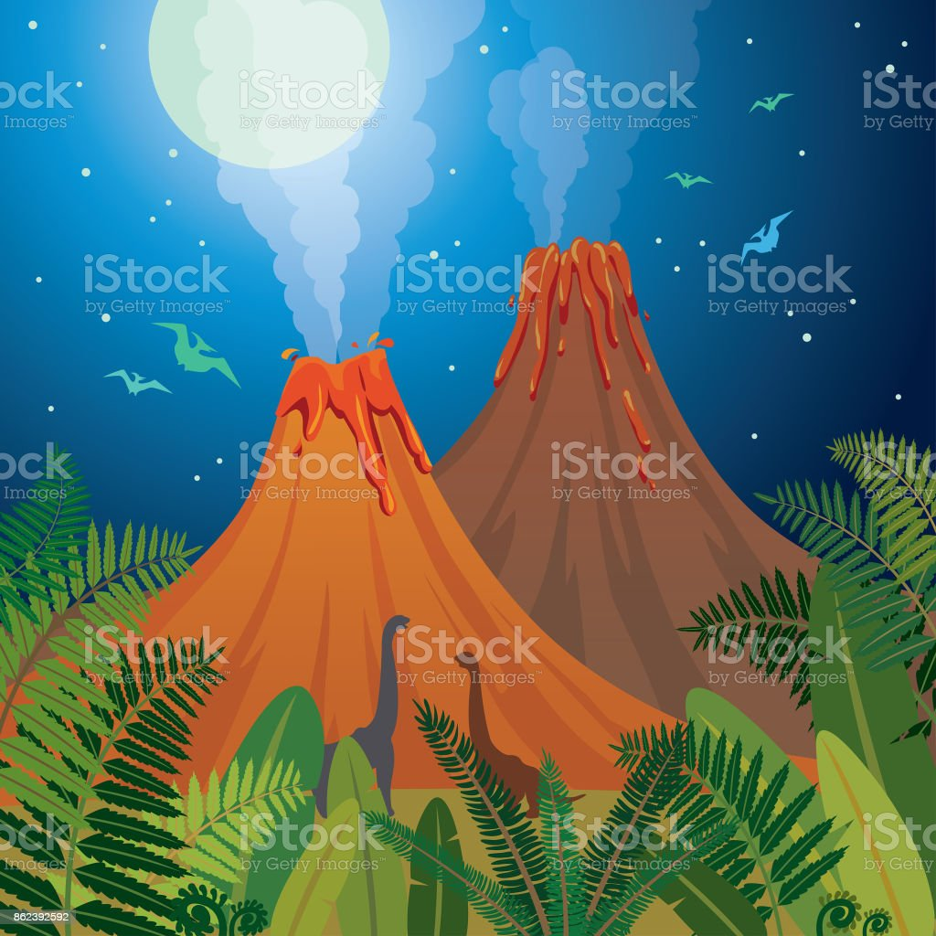 Prehistoric nature landscape - volcanoes, dinosaurs, fern. vector art illustration